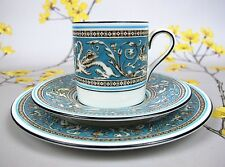 Wedgwood Turquoise FLORENTINE cabinet demitasse cup, saucer & cake plate TRIO.
