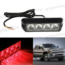 4 LED Red Emergency Beacon DRL Fog Strobe Flash Light Bar Grille Bumper Lamp US