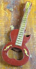 RED & YELLOW ELECTRIC GUITAR SHAPED COLLECTIBLE BAR WARE CAST IRON BOTTLE OPENER