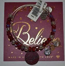 ALEX AND ANI Shiny Silver BELIEVE 2 Piece Set RED Beaded Blessed NWT AND CARD