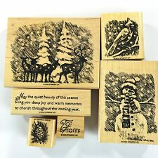 A Beautiful Season 2003 Stampin' Up! Set of 6 Holiday, Christmas, Snowman, Trees