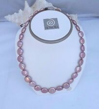 "GORGEOUS  HONORA 12-16MM  ROSE  COIN PEARL NECKLACE  18""   POUCH AND BOX"