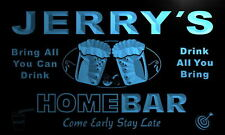 p039-b Jerry's Personalized Home Bar Beer Family Name Neon Light Sign