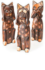 FAIR TRADE Set of Three Handcarved Wooden Cats 20cm See No Hear No Speak No Evil