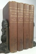 1887~BOSWELL'S LIFE OF JOHNSON~Antique Brown 4 Book Lot~Very Old Decorative Set