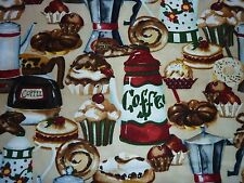 CLEARANCE FQ CAFE COFFEE POTS CAKES PASTRIES FABRIC FOOD