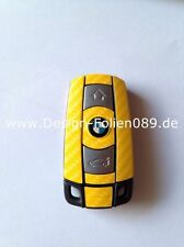 Carbon Gelb Schlüssel Folie BMW Key 1er 3er 5er X3 X5 X6 E60 E70 E90 E91 E92 E93