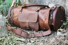 """New 24"""" Men's Brown Vintage Genuine Leather Yoga Travel Luggage Duffle gym Bags"""