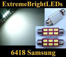 TWO HID WHITE Canbus Error Free 6418 C5W Samsung LED License Plate Light Bulbs
