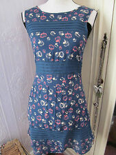 kinchi blue cotton floral banded pretty dress size 8