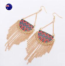 Women Lady Retro Boho Gold Color Tassel Bohemian Party Earrings Ear Hook Drop
