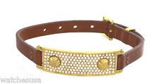 Michael Kors Gold Tone Hinge Leather Band Bracelet MKJ3607710