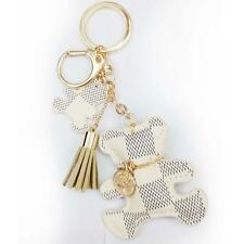 Leather Tassel Charm Key Chain Ring Girl Bag Accessory Handbag Ornament White AD