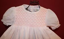 Petit Ami Girls 9 Months Soft Pink Smocked Embroidered Lace Trimmed Dress