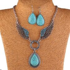 Turquoise blue stone bead pendant angel's wing tibet silver necklace earring set