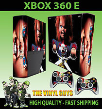 XBOX 360 E CHILDS PLAY CHUCKY HORROR VILLAIN EVIL DOLL STICKER SKIN & 2 PAD SKIN
