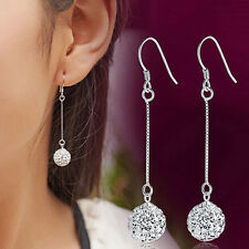 Charming Long Earrings  Silver Hook Crystal Round Ball Drop Dangle Earrings