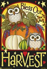 """Bless Our Harvest 28""""x40"""" House Flag By Jeremiah Junction Owl Fall"""