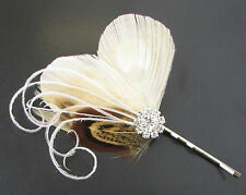 Brown Ivory Cream Pheasant Peacock Feather Hair Clip Pin Bridal  Vtg 1920s 708