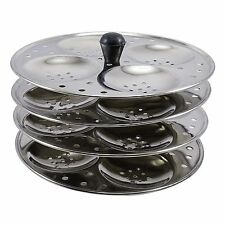 Traditional Indian Stainless Steel Idly Stand Idli Kitchenware 4 Plates Rack