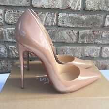 Christian Louboutin SO KATE 120 Patent Point Toe Pumps Nude Beige Size 41.5