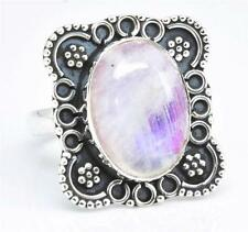 Rainbow Moon Stone Ring Solid 925 Sterling Silver Jewelry Size 6.25 IR27223