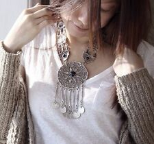 New Bohemia Tibet Silver Coin Tassel Retro Carved Flower Statement Necklace