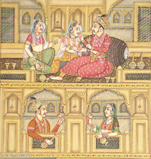 Rajput King Queen Harem Miniature Painting India Classal Vintage Ethn Art_AR1046
