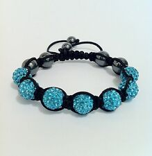Shamballa Bracelet with 7 Light Blue Swarovski Crystal Beads & 6 Hematite Beads