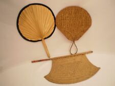 vintage wicker hand-fan with wood handle and bamboo fan lot