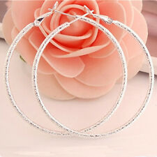 Fashion Elegant Women 925 Sterling Silver Ear Stud Crystal Hoop Earrings Jewelry