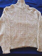 Vtg Vintage DQ Irish Fisherman Turtleneck Sweater Women Size XL Aran Wool