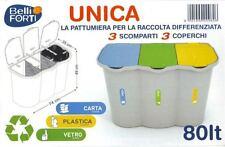 PATTUMIERA UNICA RACCOLTA DIFFERENZIATA 3 SCOMPARTI 80 LT BIDONE BELLI E FORTI--