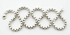 """Vtg Sterling Silver Italian Heavy Thick Box Chain Necklace 22"""" 5mm 70 Grams"""