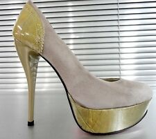 MORI MADE ITALY PLATFORM HEELS PUMPS SCHUHE SHOES LEATHER GREY GRIGIO TAUPE 44