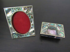 Abalone PICTURE FRAME AND Trinket Box Rose Wood  Mother of Pearl Alpaca Mexico