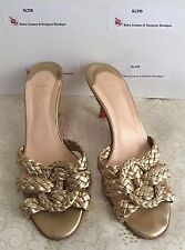 AUTH Christian Louboutin 37.5 SEXY GOLD BRAID LEATHER Slides Mules Heels Sandals
