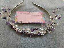 HANDMADE AMETHYST AND WHITE QUARTZ CHIP BEADED HEADBAND TIARA PROM BRIDAL