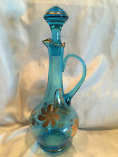 "15"" Vintage Roumanian Blue Art Glass Genie Bottle Decanter Made In Romania"