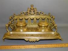ANTIQUE VICTORIAN ORNATE BRONZE FIGURAL DESK DECOR DOUBLE INKWELL PEN HOLDER