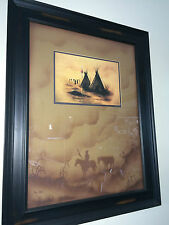 BO-BEC LARGE NATIVE AMERICAN INDIAN PRINT ARTIST INFO ON BACK TEE PEE 29 X 23