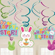 Happy Easter Bunnies Hanging Swirl Decorations x 12