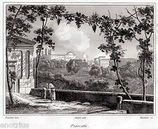 Frascati: Panorama.Castelli Romani.Audot.Acciaio.Stampa Antica.Passepartout.1836