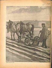 Agriculteur Farmer Laboureur Charrue Chevaux Horses  d'Hermann Vogel 1916 WWI