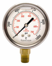"2-1/2"" Oil Filled Pressure Gauge - SS/Br 1/4"" NPT Lower Mount 10000PSI"