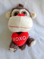 "Plush MONKEY 7"" Brown with Red XOXO Heart Pillow Big Face Big Eyes 2015"
