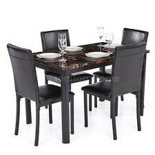Dining Table Set And 4 Leather Chairs Modern Marble-like Top Kitchen Rectangle