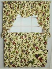 2 Sets Fruit Kitchen Curtain Tier Valance Panel Cherry Tan Red Green 56 36 NWT
