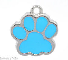JD 10PCs Silver Tone Blue Enamel Dog's Paw Charm Pendants 18x17mm