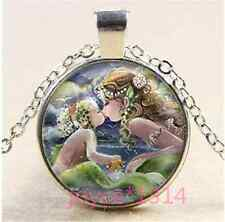 Mermaid kiss child Cabochon Tibetan silver Glass Chain Pendant Necklace #1156